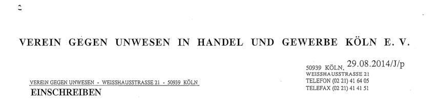 Verein gegen Unwesen in Handel und Gewerbe Köln e.V.